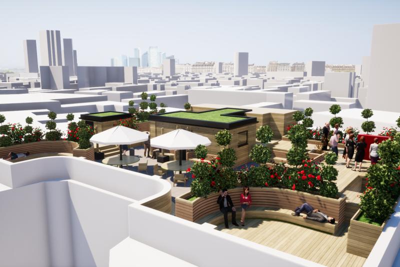 Florin Court Rooftop Gardens, Overlooking the Skyline of London