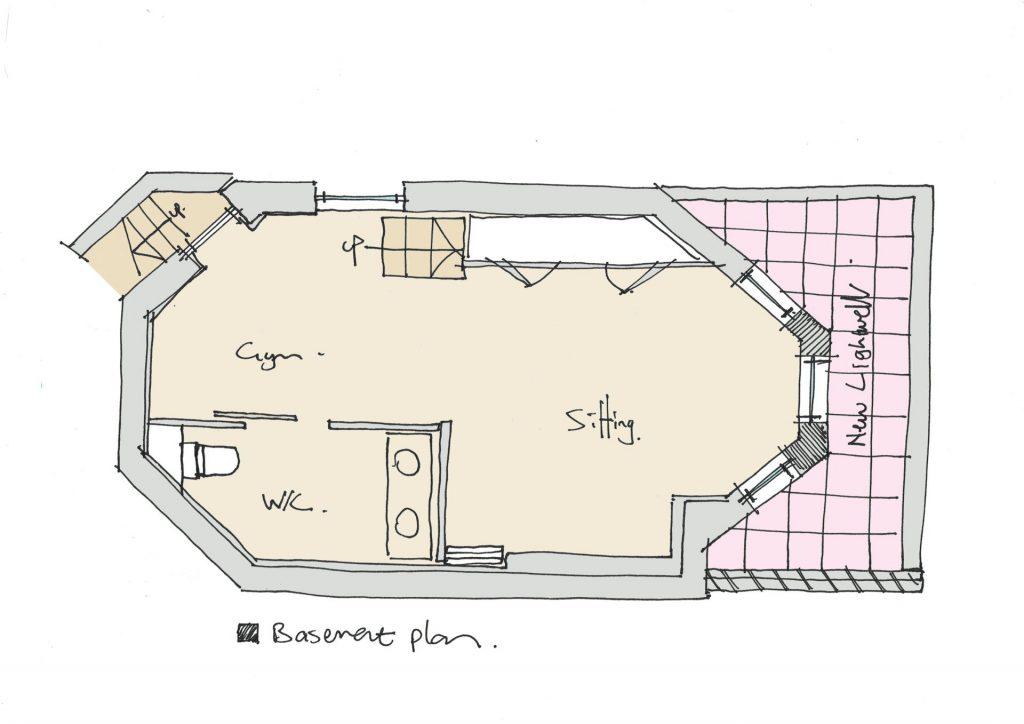 Sketch proposal of basement proposal in Brighton