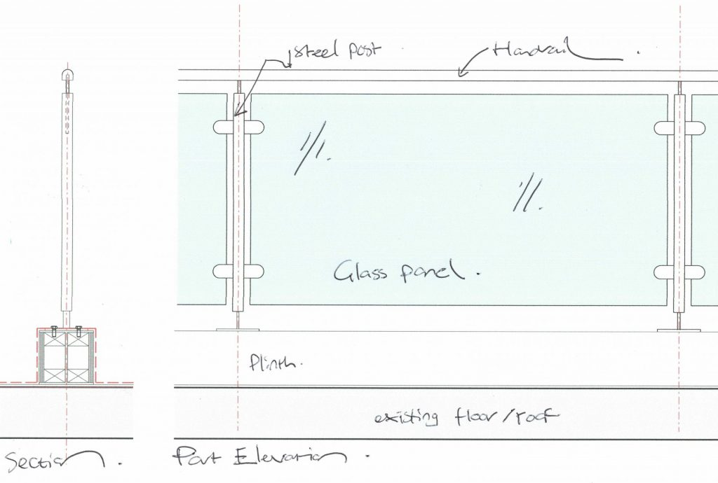 Railing detail for roof terrace planning permission drawing in Brighton