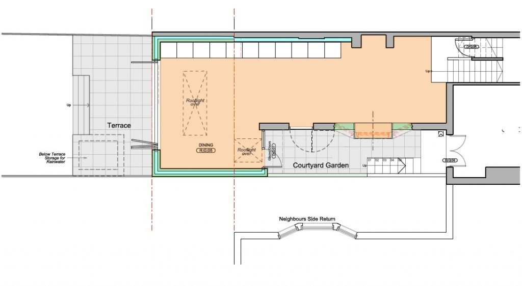 London Sedum roof extension, skylight