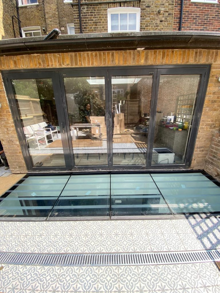 View from patio of extension and basement rooflight