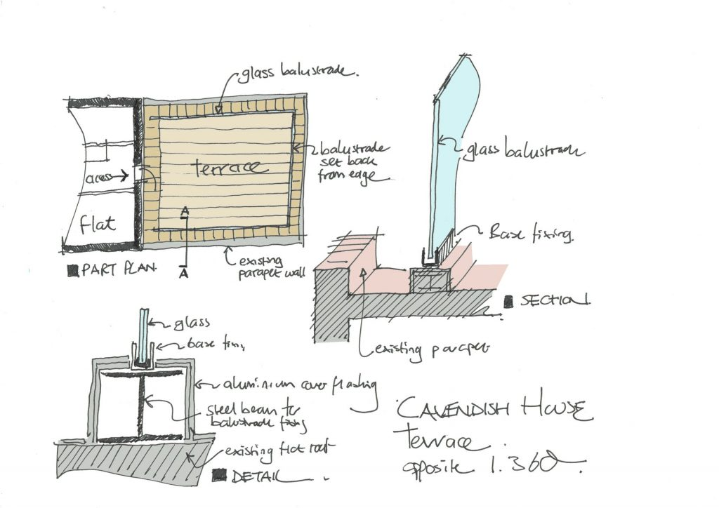 sketch drawing for roof terrace